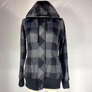 Empyre Black Grey Checkered Full Zip Jacket Sz L